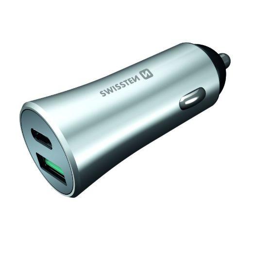 USB adaptér + USB-C Quick Charge 3.0 (stříbrný)