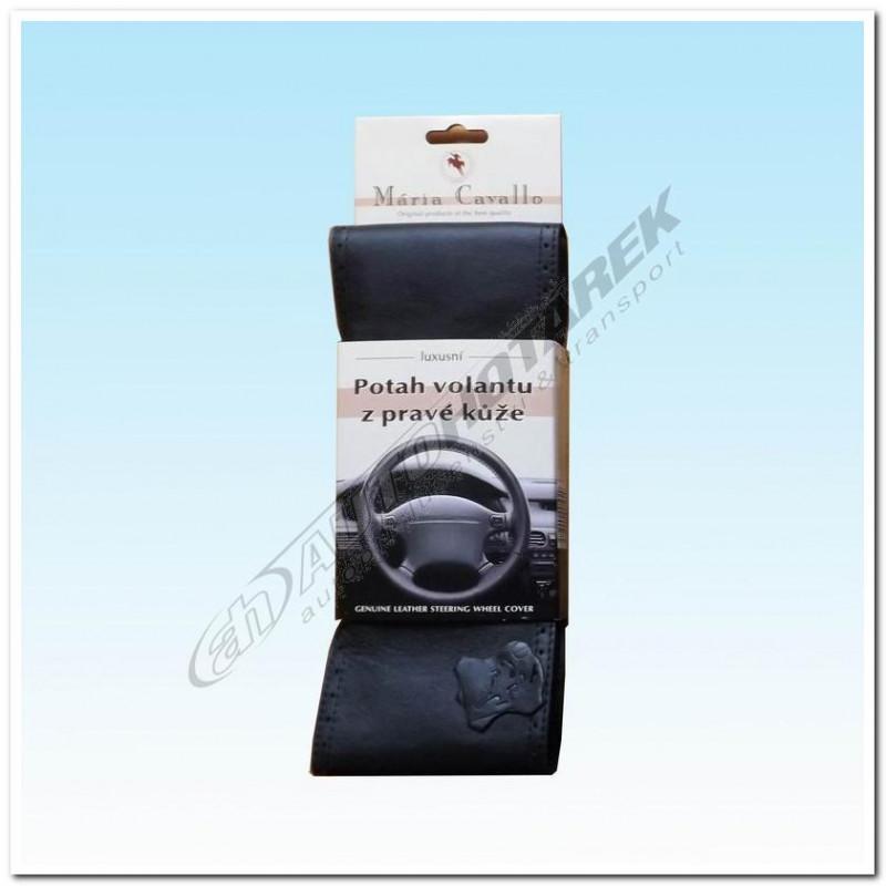 Kožený potah na volant - černý B (38,5-43 cm)