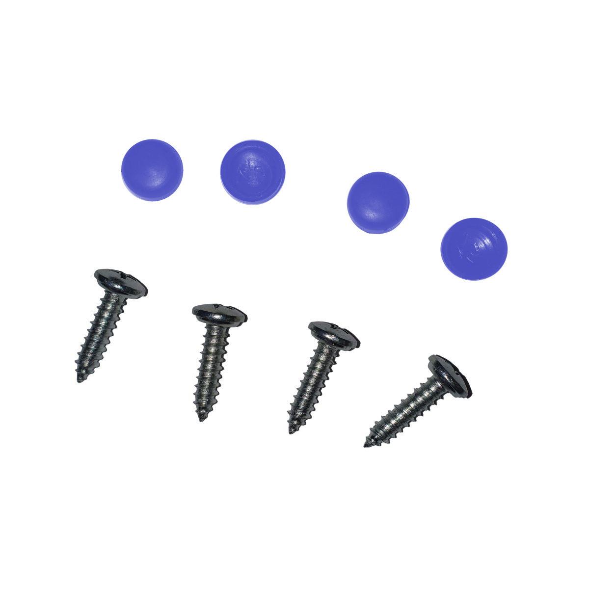 Šroubek na SPZ s plastovým krytem (modrý)