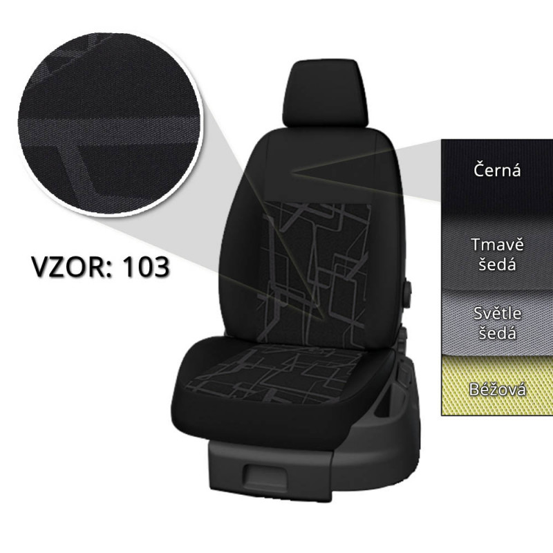 Levně Autopotahy Taso Dacia Dokker Van - přední sedačky, 2012 - 2021, ( 2 místa, vzor 103, tmavě šedé boky )