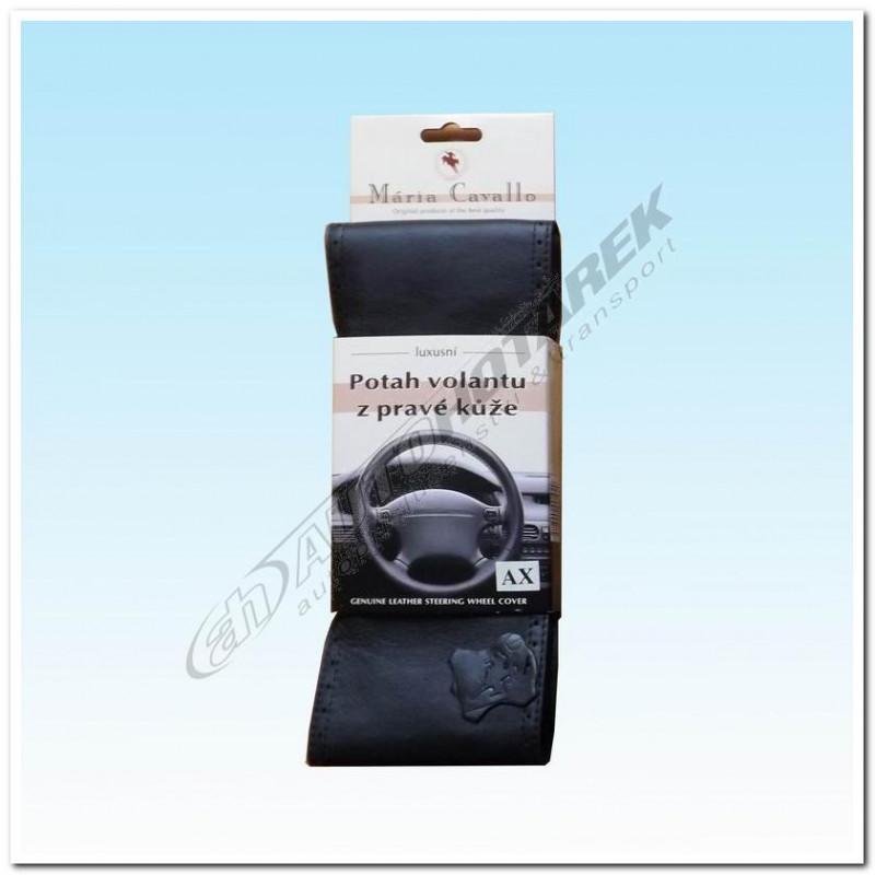 Kožený potah na volant - černý AX (36,5-39 cm)
